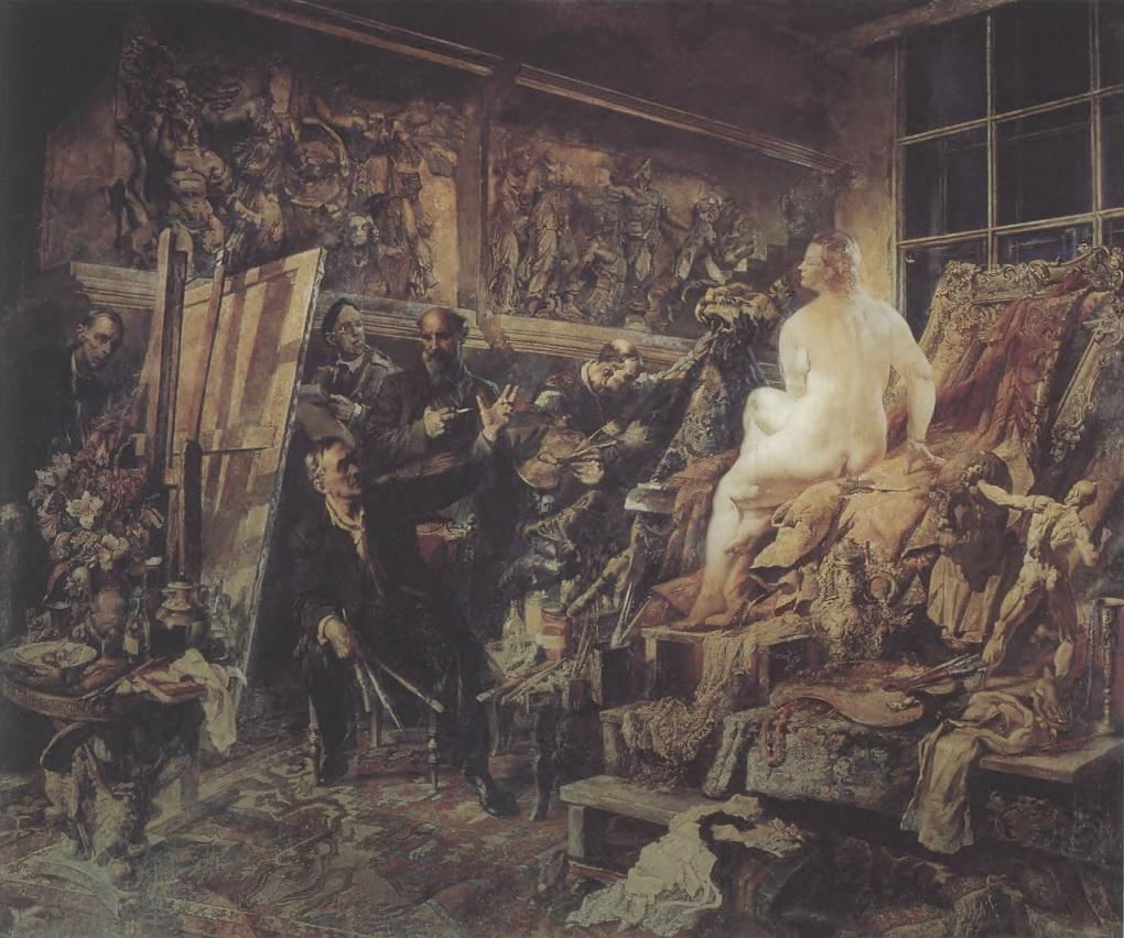 ВАСИЛИЙ ЯКОВЛЕВ. Спор об искусстве. 1946. Холст, масло. 344 х 413 см. Государственный Русский музей