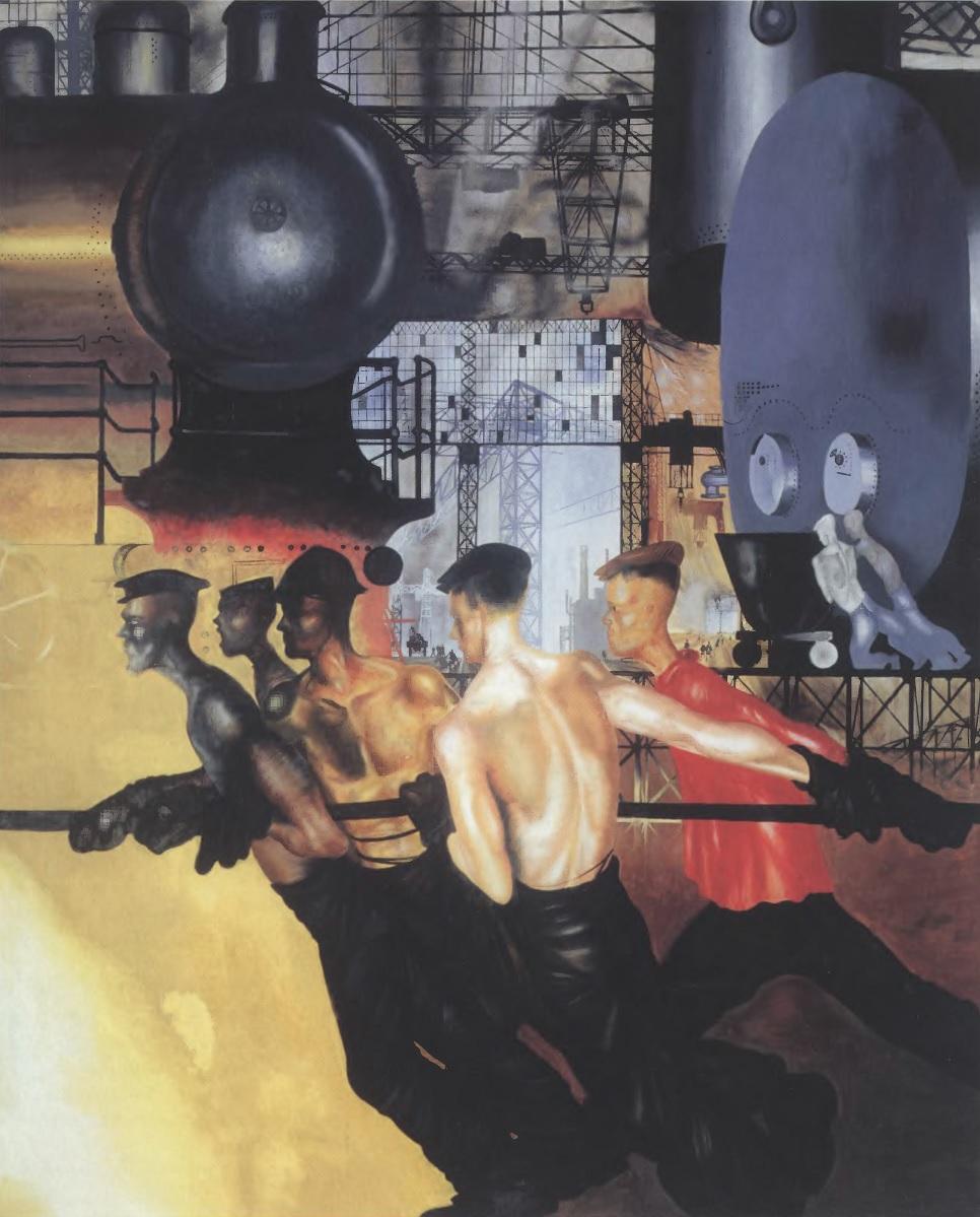 ЮРИЙ ПИМЕНОВ. «Даешь тяжелую индустрию!». 1927. Холст, масло. 260 х 212 см. Государственная Третьяковская галерея
