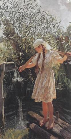 АРКАДИЙ ПЛАСТОВ. Родник. 1952. Холст, масло. 221 х 121 см. Государственная картинная галерея Армении, Ереван