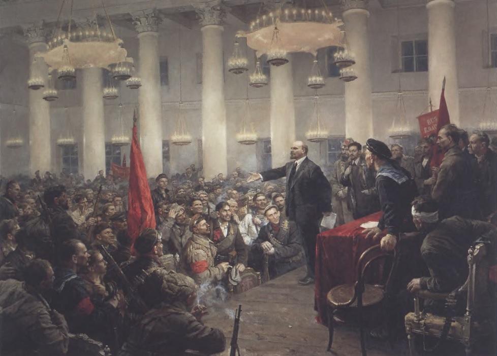 ВЛАДИМИР СЕРОВ. Выступление В. И. Ленина на II Всероссийском съезде Советов. Холст, масло