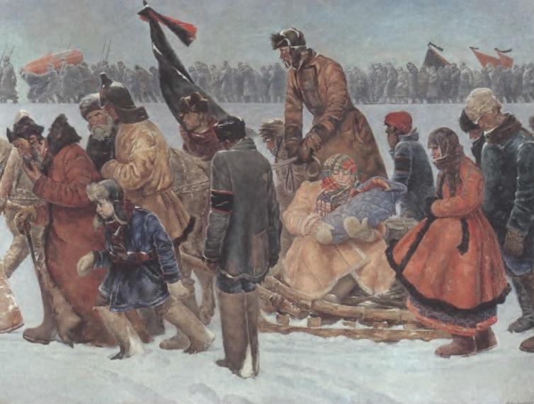 ПАВЕЛ СОКОЛОВ-СКАЛЯ. Путь из Горок. 1926 Холст, масло. 200 х 300 см