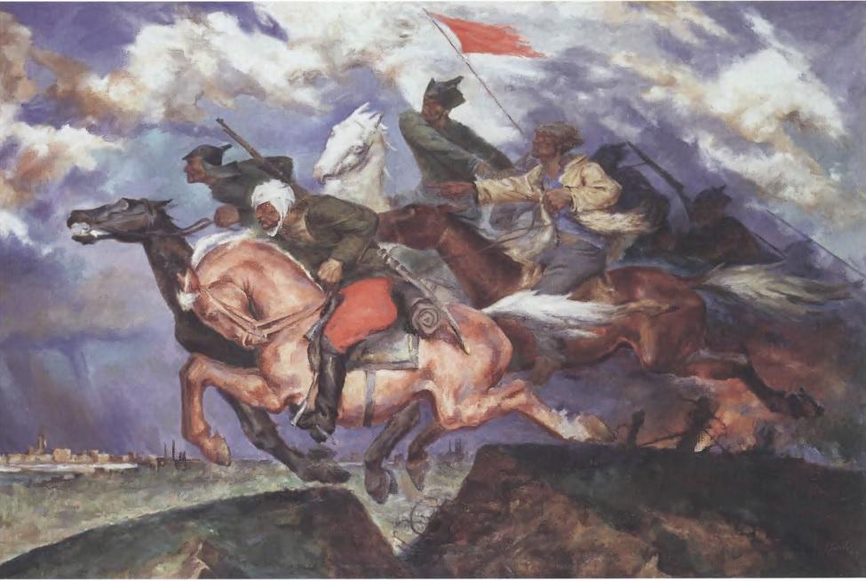 ПАВЕЛ СОКОЛОВ-СКАЛЯ. Даешь Варшаву! 1929. Холст, масло