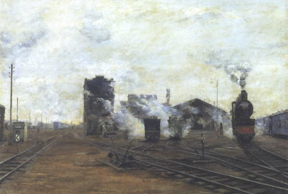 БОРИС ЯКОВЛЕВ. Транспорт налаживается. 1923. Дерево, масло. 100 х 140 см. Государственная Третьяковская галерея