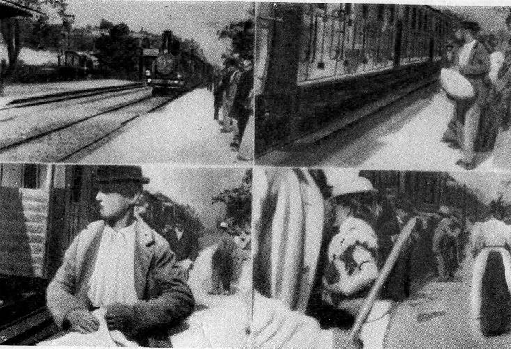 """Кадры из фильма """"Прибытие поезда"""" Люмьера (1895)"""