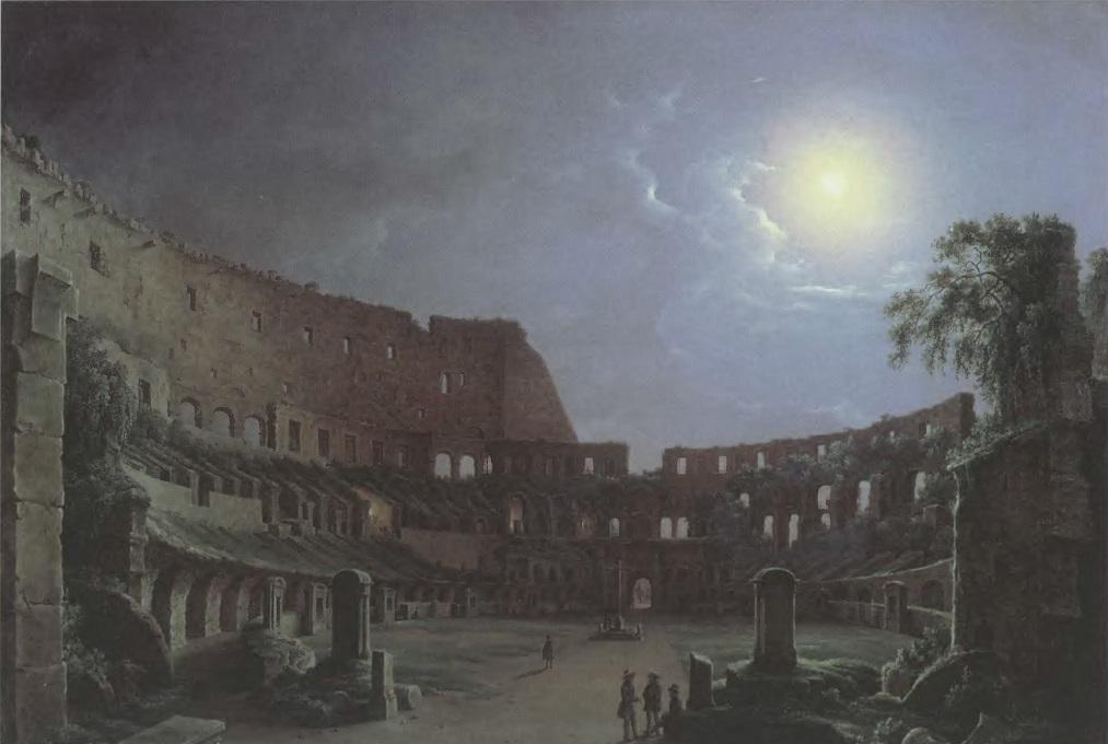 НИКАНОР ЧЕРНЕЦОВ. Колизей в лунную ночь. 1842. Холст, масло. 82 х 109 см Таганрогская картинная галерея