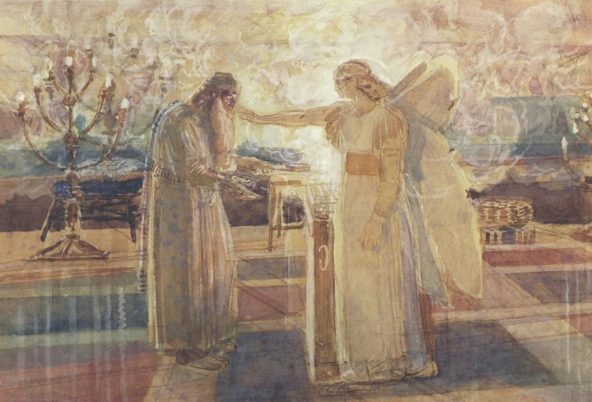 АЛЕКСАНДР ИВАНОВ. Архангел Гавриил поражает Захарию немотой. 1850-е. Желтая бумага, акварель, белила, итальянский карандаш 26,2 х 39,9 см. Государственная Третьяковская галерея