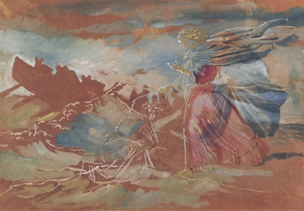 АЛЕКСАНДР ИВАНОВ. Хождение по водам. 1850-е. Коричневая бумага, акварель, белила 26,7 х 39,2 см. Государственная Третьяковская галерея