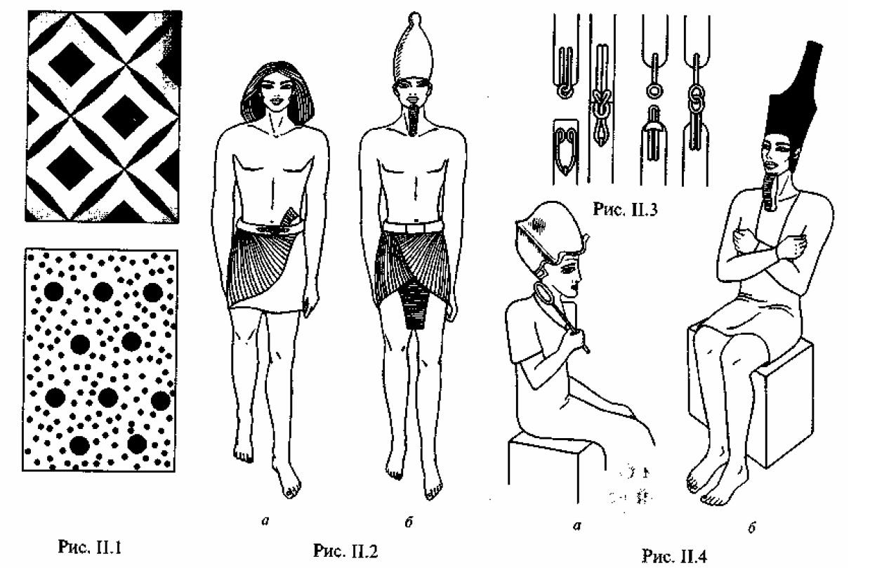 Рис. II.1. Образцы рисунков на текстиле. Рис. II.2. Жрец периода Древнего царства в схенти и парике (а), фараон в схенти и кеглеобразной короне Южного Египта (б). Рис. II.З. Пояса для крепления схенти. Рис. II.4. Фараон в калазирисе и с жезлом (a); фараон в тесно облегающем калазирисе и красной короне Северного Египта (б)