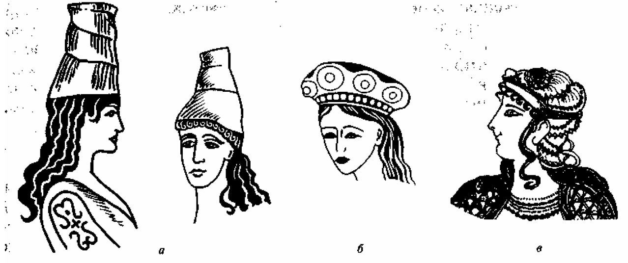 Рис. 11.29. Женские головные уборы (а, б); нарядная прическа (в)
