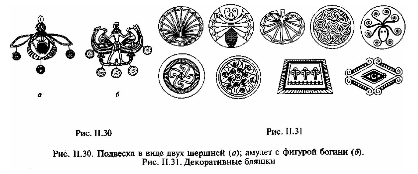 Рис. II.30. Подвеска в виде двух шершней (а); амулет с фигурой богини (б) Рис. II.31. Декоративные бляшки