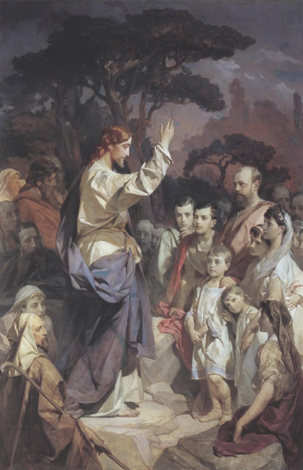 ИВАН МАКАРОВ. Нагорная проповедь. Около 1890 Холст, масло 235 х 155 см. Государственный музей истории религии, Санкт-Петербург