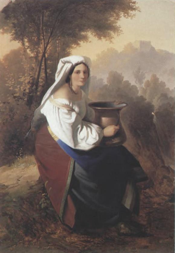 ТИМОФЕЙ НЕФФ. Женщина с кувшином. 1855 Холст, масло. 70,5 х 53,5 см Государственный Русский музей