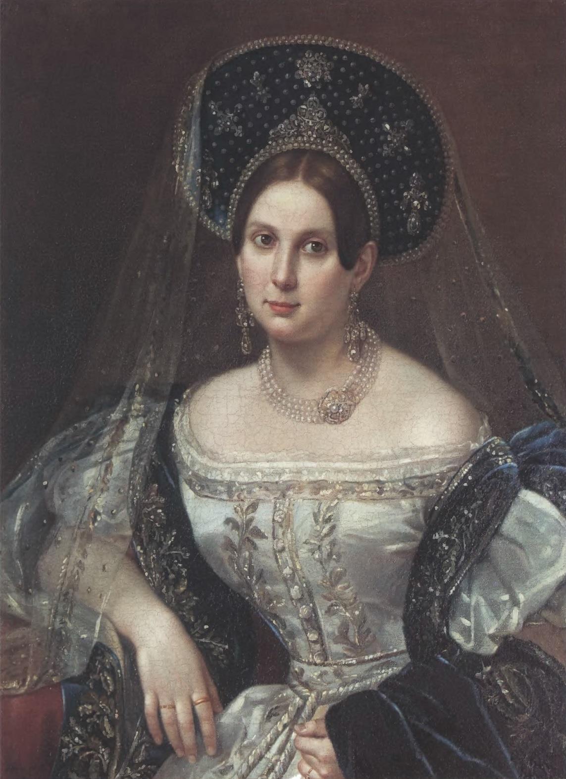 ПИМЕН ОРЛОВ. Портрет неизвестной в придворном русском платье. Около 1835. Холст, масло. 79 х 64,5 см. Государственный Эрмитаж