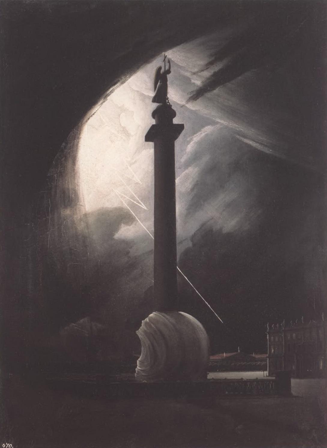 ВАСИЛИЙ РАЕВ. Александровская колонна во время грозы. 1834. Холст, масло. 65 X 47 см. Государственный Русский музей
