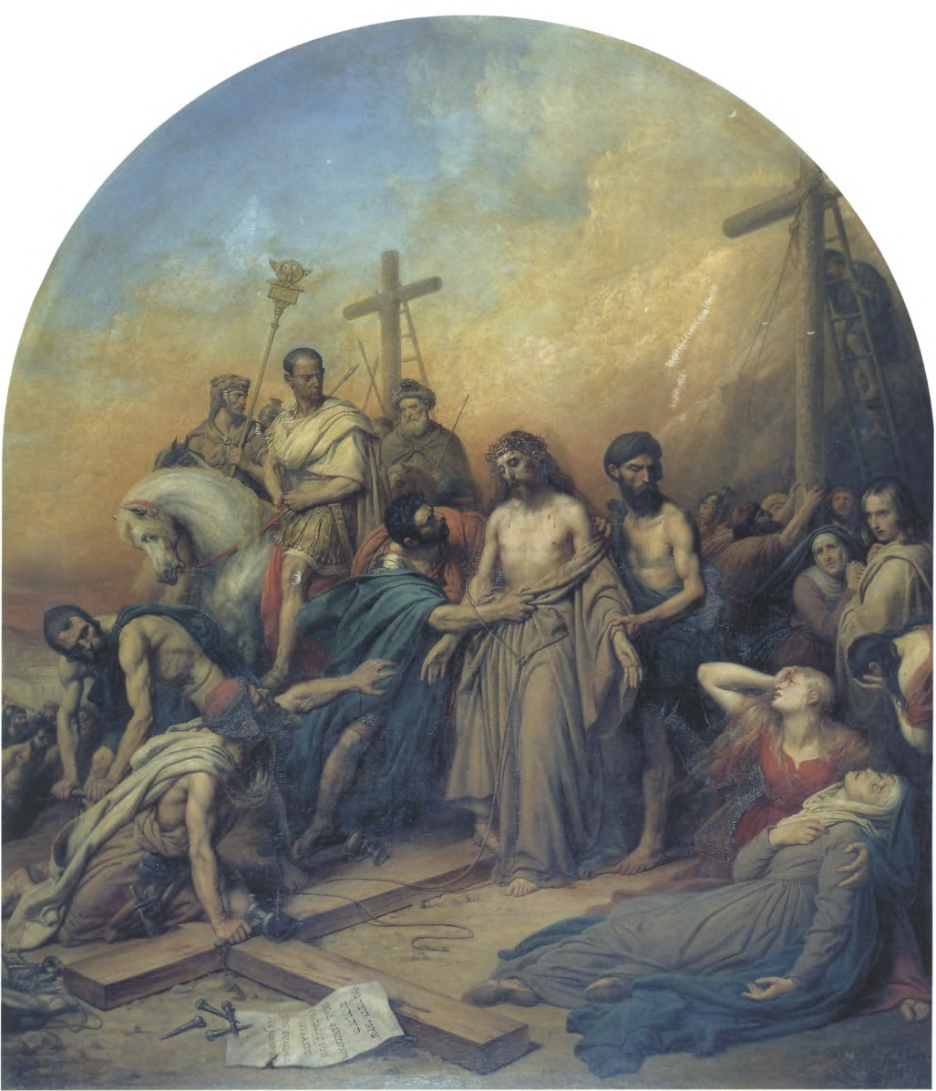 КАРЛ ШТЕЙБЕН. На Голгофе. 1841. Холст, масло. 193 х 168 см (верх — полуовал). Государственная Третьяковская галерея