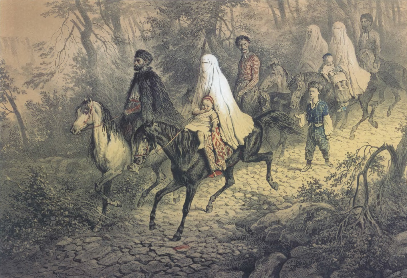 ВАСИЛИЙ ТИММ. Татарское семейство. Бумага, акварель. Частное собрание
