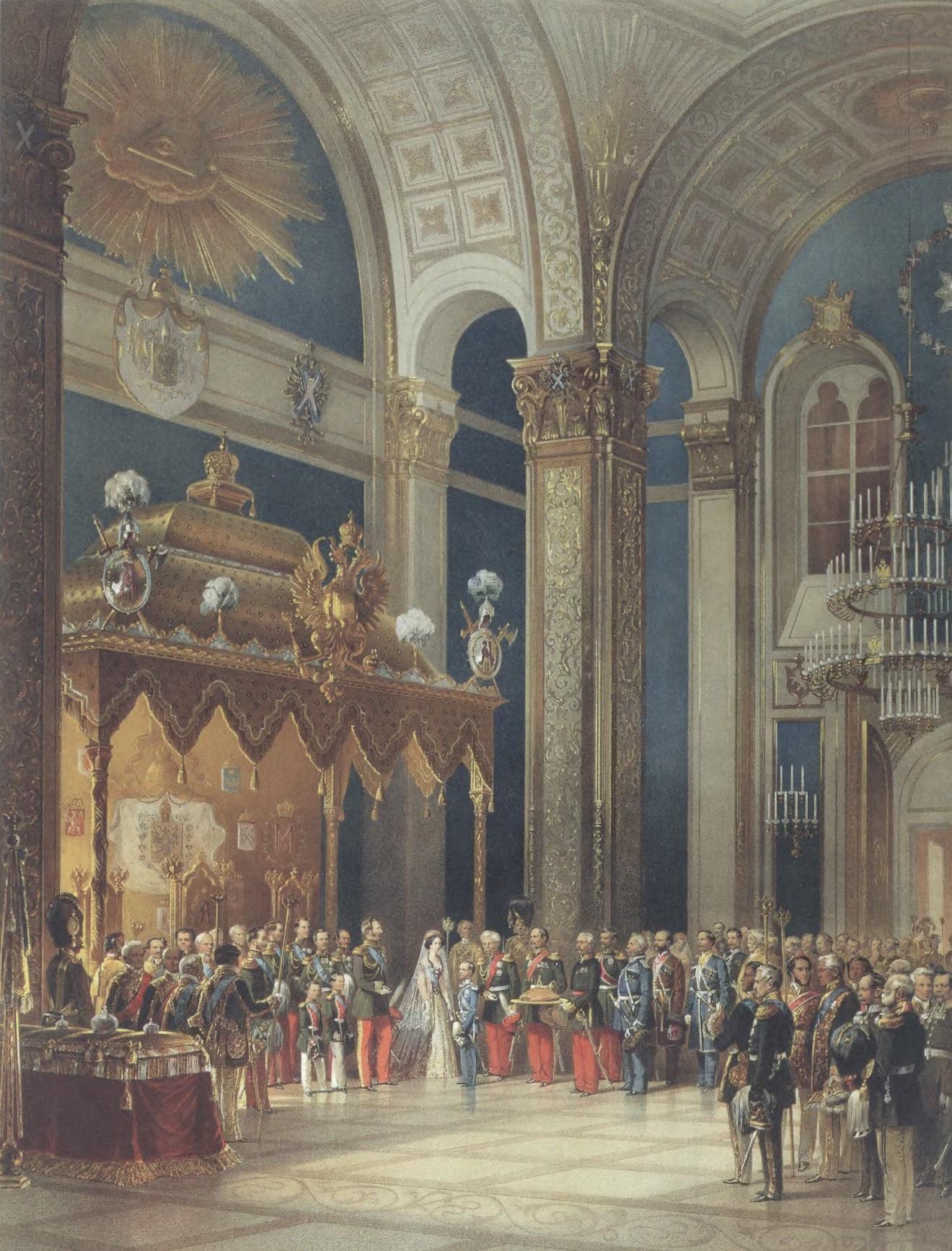 ВАСИЛИЙ ТИММ. Поздравление, приносимое казачьим войском Александру II в Успенском соборе. Холст, масло