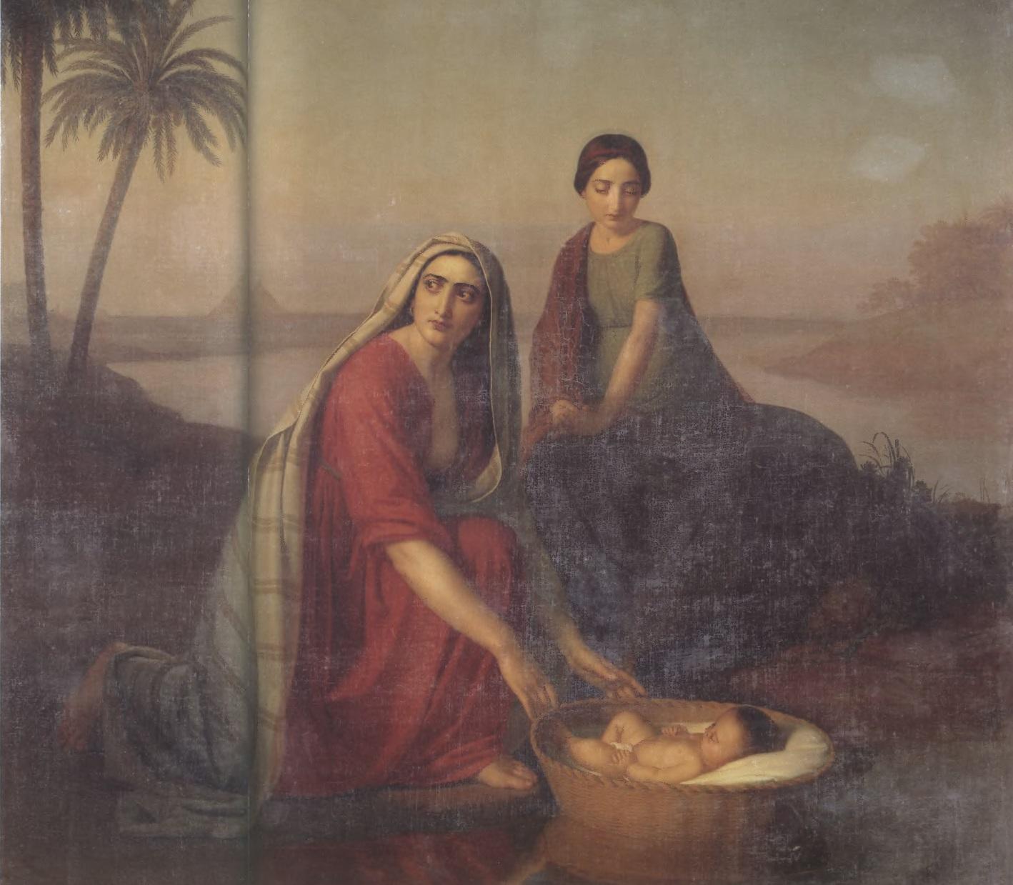 АЛЕКСЕЙ ТИРАНОВ. Моисей, опускаемый матерью на воды Нила. 1839—1842. Холст, масло. 175,9 х 197,2 см. Государственная Третьяковская галерея