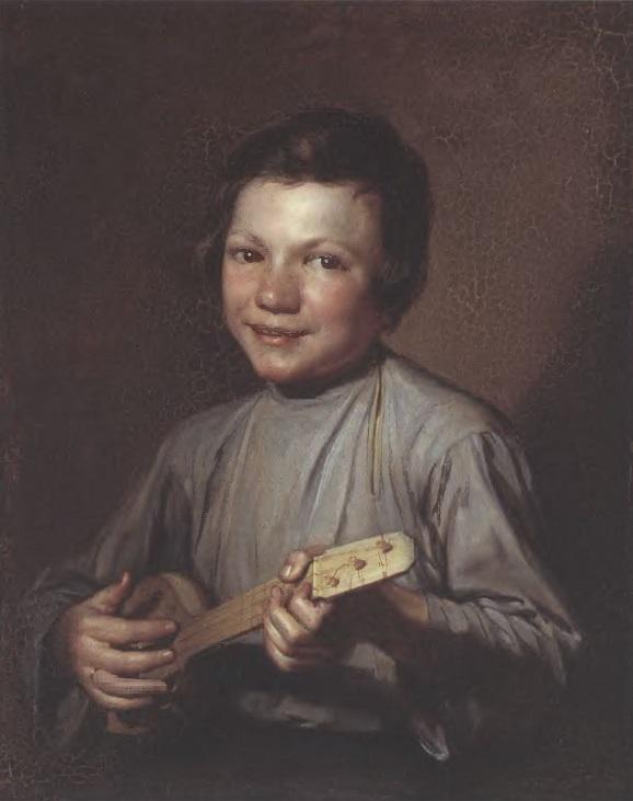 ПЕТР ЗАБОЛОТСКИЙ. Мальчик с балалайкой. 1835. Картон, масло. 37,5 х 30,5 см. Государственная Третьяковская галерея