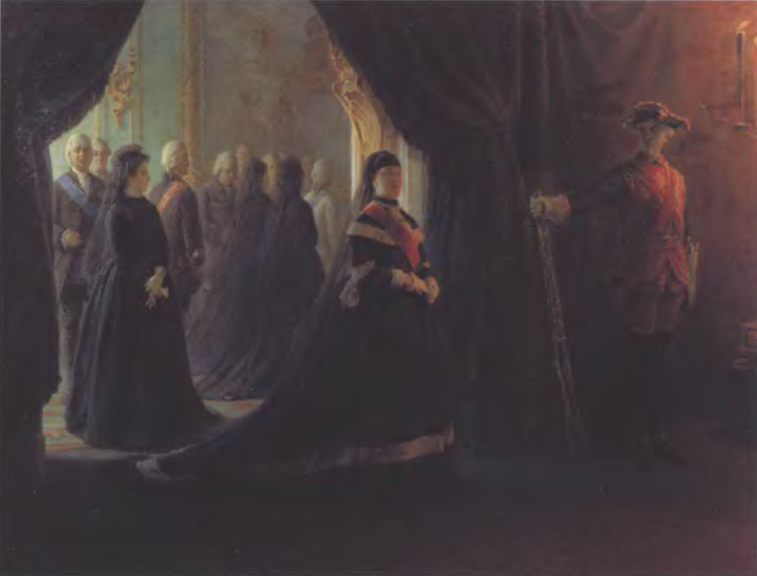 НИКОЛАЙ ГЕ. Екатерина II у гроба императрицы Елизаветы. 1874. Холст, масло. 172 х 224,8 см. Государственная Третьяковская галерея