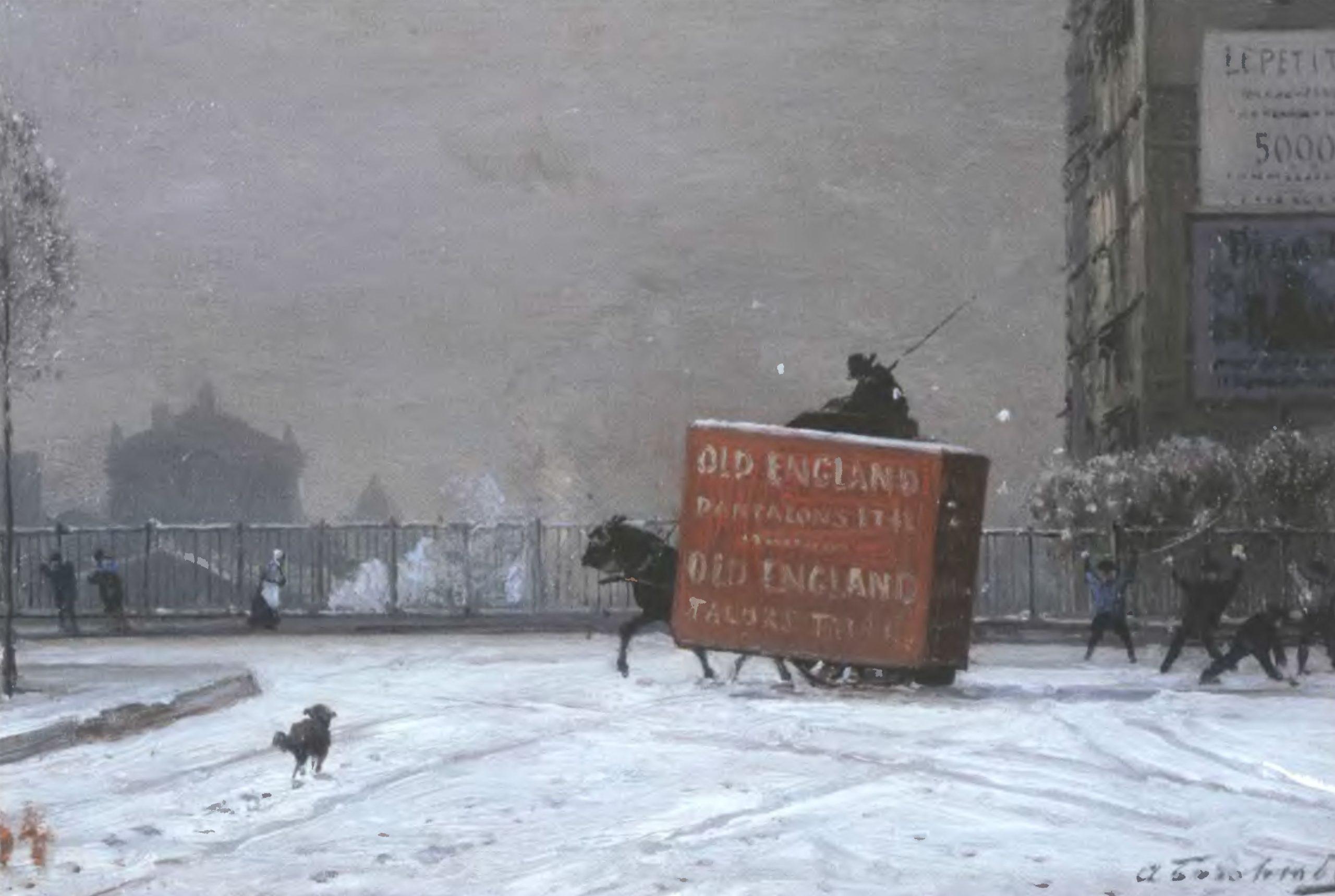 АЛЕКСЕЙ БОГОЛЮБОВ. Зима в Париже 1870-е. Дерево, масло 18 х 27 см. Саратовский государственный художественный музей
