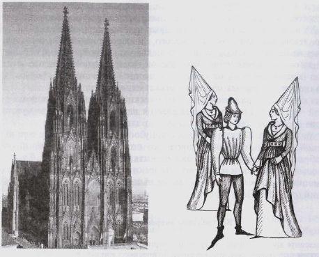 Рис. III.46. Связь готического костюма с архитектурой.