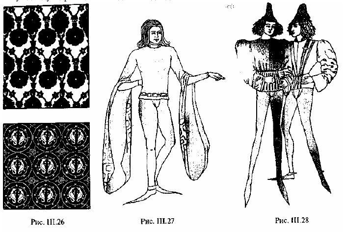 Рис. III.26. Образны текстильных узоров. Рис. III.27, Куртка котарди. Рис. III.28. Костюмы бургундских щеголей