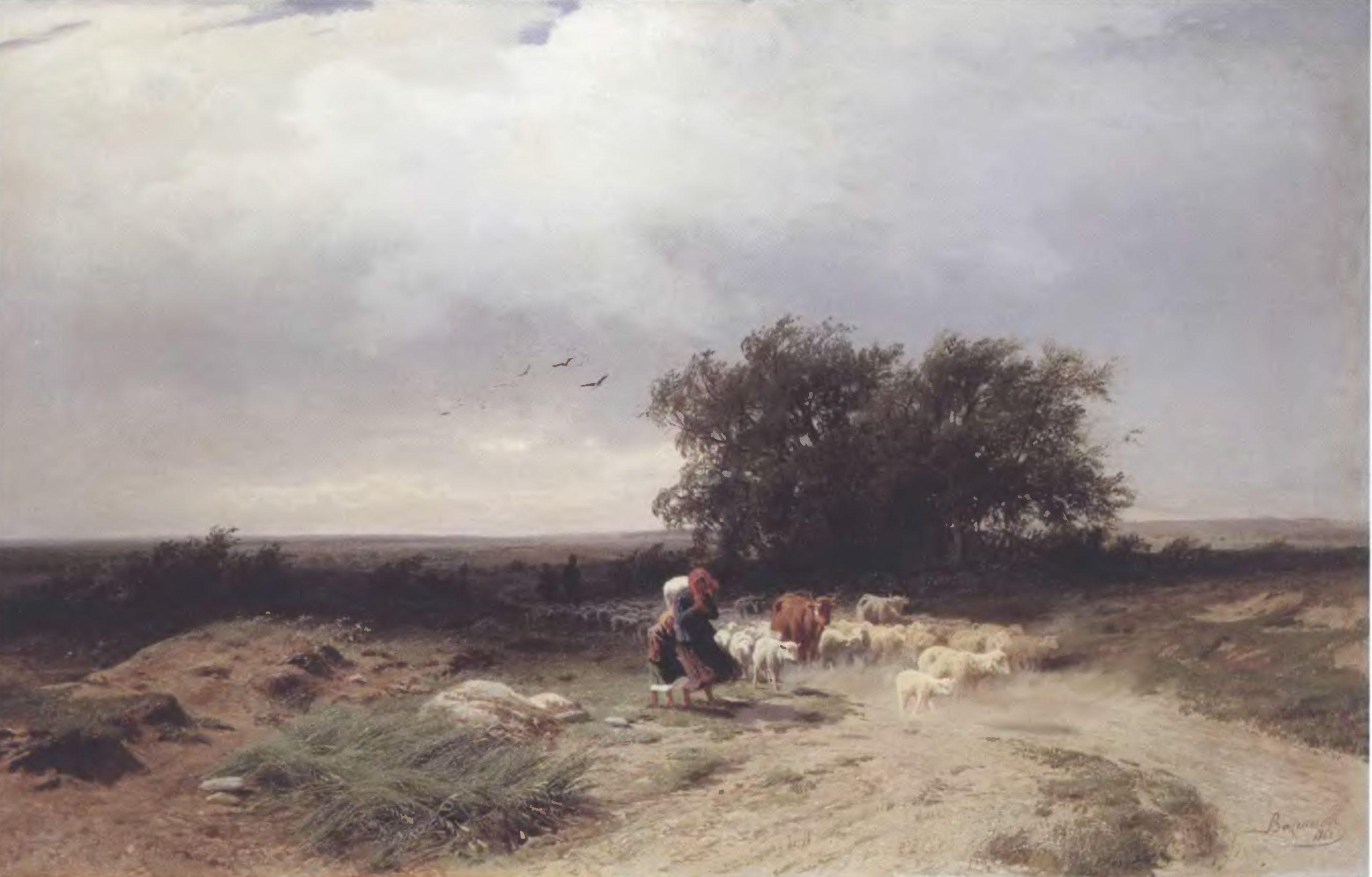 ФЕДОР ВАСИЛЬЕВ. Возвращение стада. 1868. Холст, масло. 60 х 96 см. Государственная Третьяковская галерея
